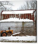 Barn And Tractor Acrylic Print