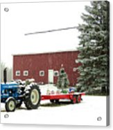 Barn And Tractor Holiday Scene Acrylic Print