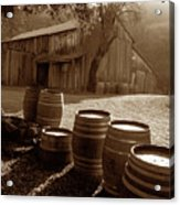 Barn And Wine Barrels 2 Acrylic Print by Kathy Yates