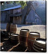Barn And Wine Barrels Acrylic Print by Kathy Yates