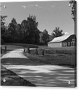 Barn At Yonah Mountain In Black And White 1 Acrylic Print