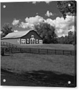 Barn At Yonah Mountain In Black And White 4 Acrylic Print