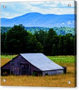 Barn Below Trees And Mountains Acrylic Print