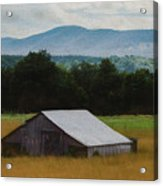 Barn Below Trees And Mountains In Artistic Version Acrylic Print
