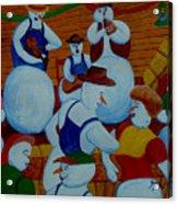 Barn Dancing Snowmen Acrylic Print