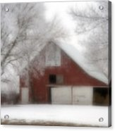 Barn Fog And Hoarfrost Acrylic Print