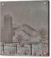Barn In Fog Acrylic Print