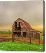 Barn In The Cloudy Sky Acrylic Print