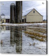 Barn Reflection After A Snowstorm Acrylic Print
