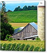 Barn Silo And Crops In Nys Expressionistic Effect Acrylic Print