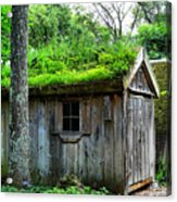 Barn With Green Roof Acrylic Print