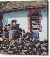 Barn With Log Pile Acrylic Print
