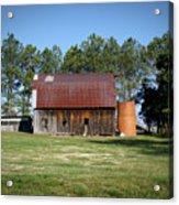 Barn With Tree In Silo Acrylic Print by Douglas Barnett