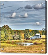 Barns And Pond On A Fall Day Acrylic Print