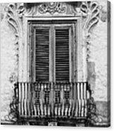 Baroque Balcony Window. Messina, Sicily.    Black And White Acrylic Print