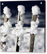 Barriere En Bois Recouverte De Neige Les Contamines Montjoie Haute Savoie Acrylic Print