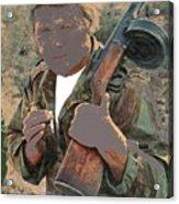 Barry Sadler With Machine Gun On His Shoulder Tucson Arizona 1971-2015 Acrylic Print