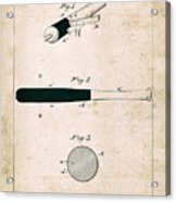 Baseball Bat - Patent Drawing For The 1902 John Hillerich Basebal Bat Acrylic Print