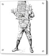 Baseball Catcher Cage - Restored Patent Drawing For The 1904 James Edward Bennett Catcher Cage Acrylic Print
