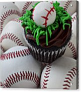 Baseball Cupcake Acrylic Print by Garry Gay