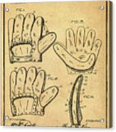 Baseball Glove Patent 1910 Sepia With Border Acrylic Print