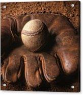 Baseball In Glove Acrylic Print by John Wong