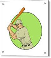 Baseball Player Batting Stance Circle Drawing Acrylic Print