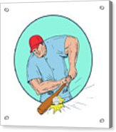 Baseball Player Hitting A Homerun Drawing Acrylic Print