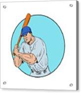 Baseball Player Holding Bat Drawing Acrylic Print