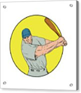 Baseball Player Swinging Bat Drawing Acrylic Print