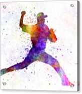 Baseball Player Throwing A Ball 01 Acrylic Print