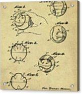 Baseball Training Device Patent 1961 Sepia Acrylic Print