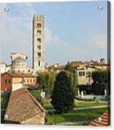 Basilica Di San Frediano With Palazzo Pfanner Gardens Acrylic Print