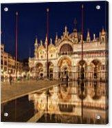 Basilica San Marco Reflections At Night - Venice, Italy Acrylic Print