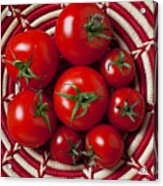 Basket Full Of Red Tomatoes  Acrylic Print by Garry Gay