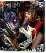 Basket Of Crocheting And Thread Acrylic Print