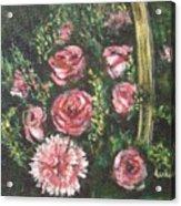 Basket Of Pink Flowers Acrylic Print