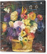 Basket with Flowers Acrylic Print