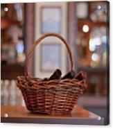 Basket With Wine Bottles Acrylic Print