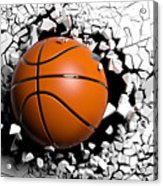 Basketball Ball Breaking Forcibly Through A White Wall. 3d Illustration. Acrylic Print