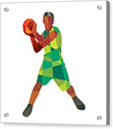 Basketball Player Ball In Action Low Polygon Acrylic Print
