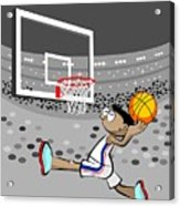 Basketball Player Jumping And Flying To Shoot The Ball In The Hoop Acrylic Print