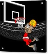 Basketball Player Jumping In The Stadium And Flying To Shoot The Ball In The Hoop Acrylic Print