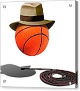 Basketball With Fedora Acrylic Print