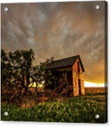 Basking In The Glow - Old Barn At Sunset In Oklahoma Panhandle Acrylic Print