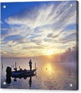 Bass Fisherman At Dawn, Oregon Cascades Acrylic Print