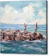 Bass Fishing Off Newport Acrylic Print