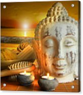 Bath Accessories With Buddha Statue At Sunset Acrylic Print