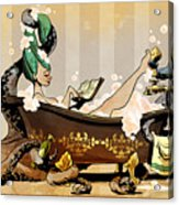 Bath Time With Otto Acrylic Print by Brian Kesinger
