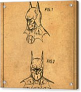 Batman Cowl Patent In Sepia Acrylic Print